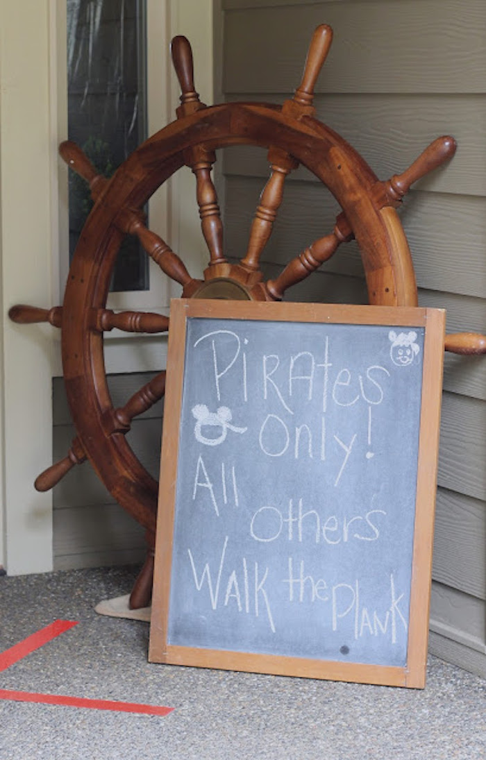Ship Helm Welcome Signage from a Mickey Mouse Pirate Party via Kara's Party Ideas | KarasPartyIdeas.com (5)