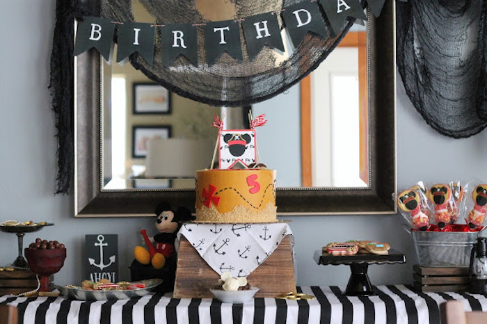 Pirate Dessert Table from a Mickey Mouse Pirate Party via Kara's Party Ideas | KarasPartyIdeas.com (24)