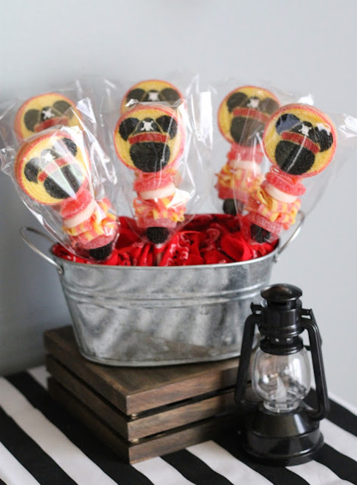 Mickey Mouse Candy Kabobs from a Mickey Mouse Pirate Party via Kara's Party Ideas | KarasPartyIdeas.com (21)