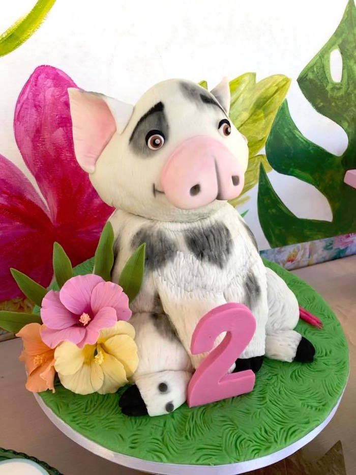 Pua Pig Cake from a Moana Birthday Party Luau on Kara's Party Ideas | KarasPartyIdeas.com (17)