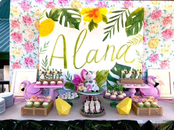 Tropical Dessert Table From A Moana Birthday Party Luau On Karas Ideas
