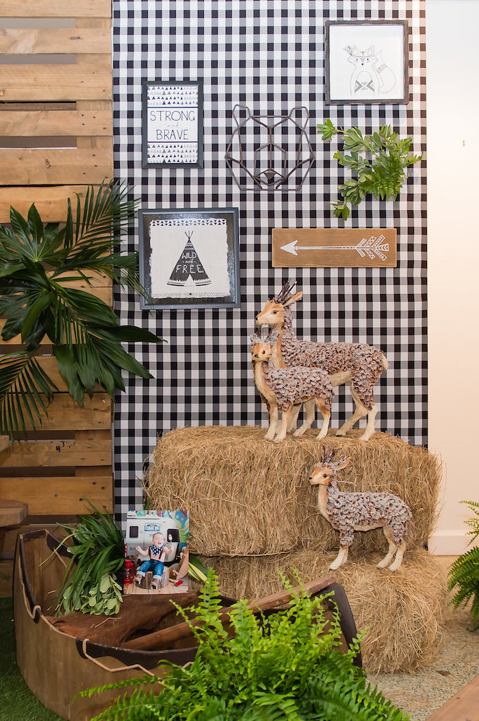 Camping Themed Party Backdrop from a Modern Rustic Camping Birthday Party on Kara's Party Ideas | KarasPartyIdeas.com (37)