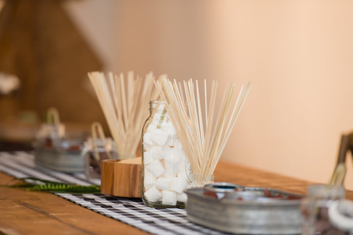 S'mores Bar from a Modern Rustic Camping Birthday Party on Kara's Party Ideas | KarasPartyIdeas.com (34)