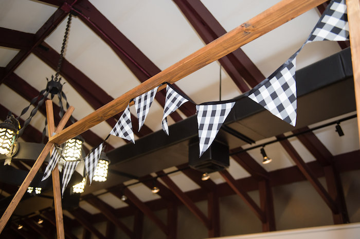 Monochromatic Pennant Banner from a Modern Rustic Camping Birthday Party on Kara's Party Ideas | KarasPartyIdeas.com (28)