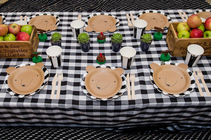 Bear Table Settings + Camping Themed Guest Table from a Modern Rustic Camping Birthday Party on Kara's Party Ideas | KarasPartyIdeas.com (27)