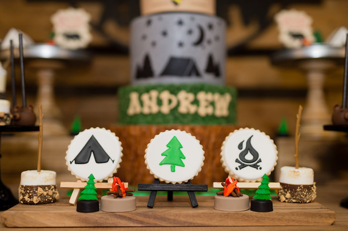 Camping Themed Sugar Cookies from a Modern Rustic Camping Birthday Party on Kara's Party Ideas | KarasPartyIdeas.com (21)