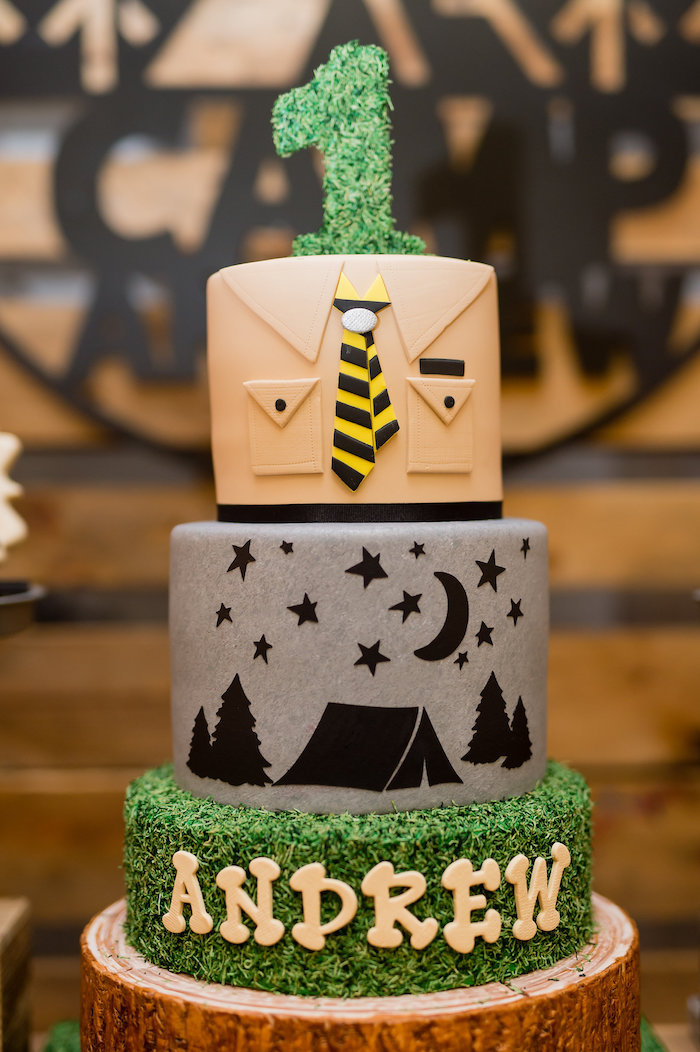 Camping Themed Birthday Cake from a Modern Rustic Camping Birthday Party on Kara's Party Ideas | KarasPartyIdeas.com (20)