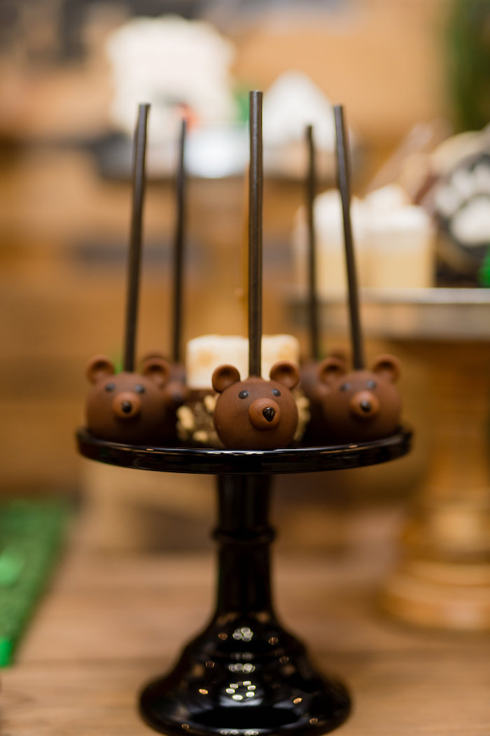 Bear Cake Pops from a Modern Rustic Camping Birthday Party on Kara's Party Ideas | KarasPartyIdeas.com (19)