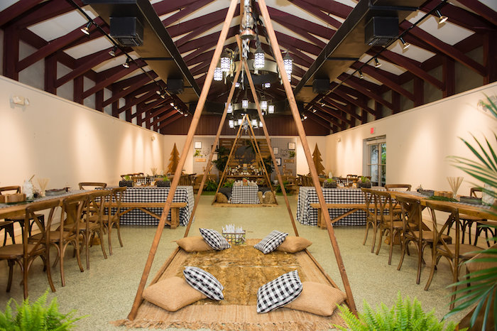 Wood Tent-framed Lounge from a Modern Rustic Camping Birthday Party on Kara's Party Ideas | KarasPartyIdeas.com (46)