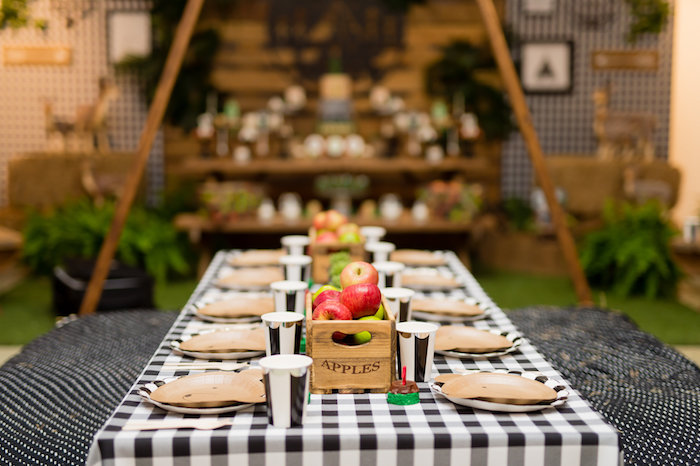 Camp Themed Guest Table from a Modern Rustic Camping Birthday Party on Kara's Party Ideas | KarasPartyIdeas.com (12)
