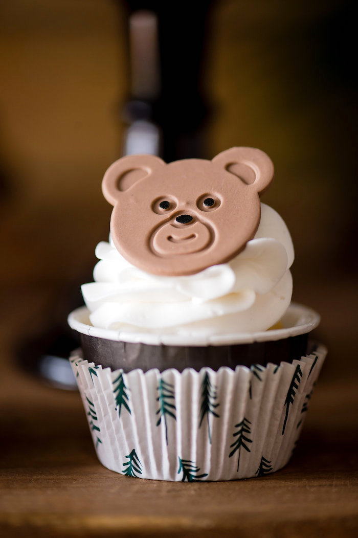 Bear Cupcake from a Modern Rustic Camping Birthday Party on Kara's Party Ideas | KarasPartyIdeas.com (9)