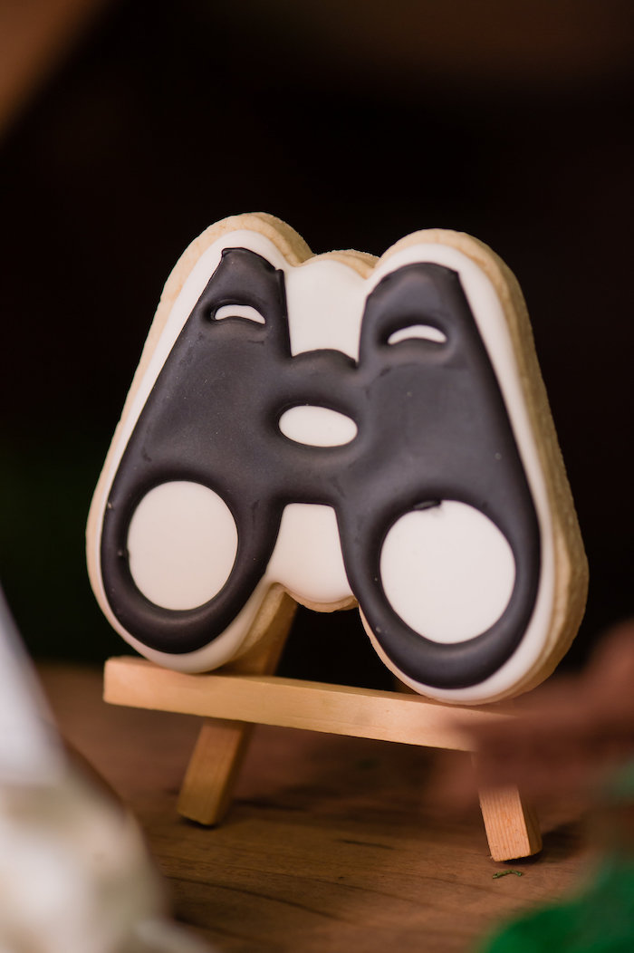 Binoculars Sugar Cookie from a Modern Rustic Camping Birthday Party on Kara's Party Ideas | KarasPartyIdeas.com (8)