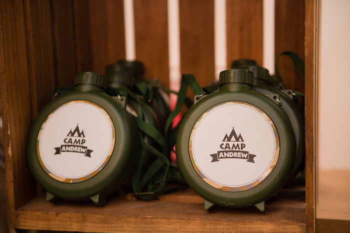 Canteen Camping Party Favors From A Modern Rustic Birthday On Karas Ideas