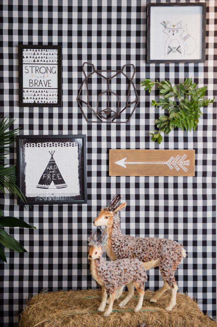 Camping Party Backdrop from a Modern Rustic Camping Birthday Party on Kara's Party Ideas | KarasPartyIdeas.com (5)