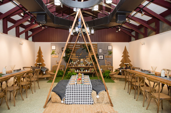 Tented Guest Table from a Modern Rustic Camping Birthday Party on Kara's Party Ideas | KarasPartyIdeas.com (42)