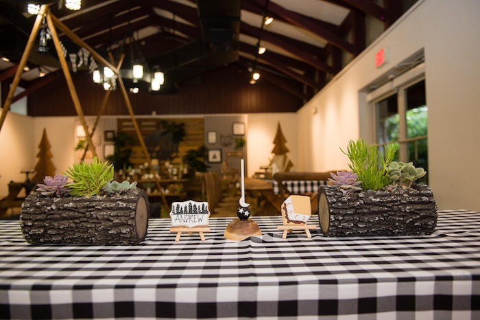 Log Planters + Guest Table from a Modern Rustic Camping Birthday Party on Kara's Party Ideas | KarasPartyIdeas.com (40)