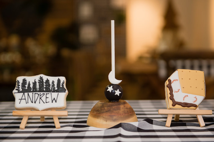Camping Themed Sweets + Table Centerpieces from a Modern Rustic Camping Birthday Party on Kara's Party Ideas | KarasPartyIdeas.com (39)