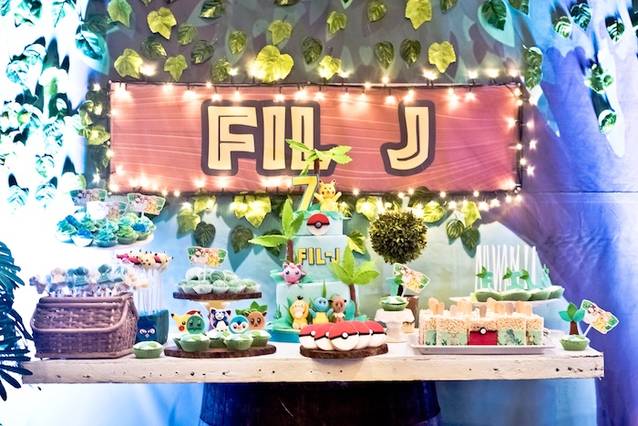 Pokemon Dessert Table from a Modern Safari Pokemon Party on Kara's Party Ideas | KarasPartyIdeas.com (19)
