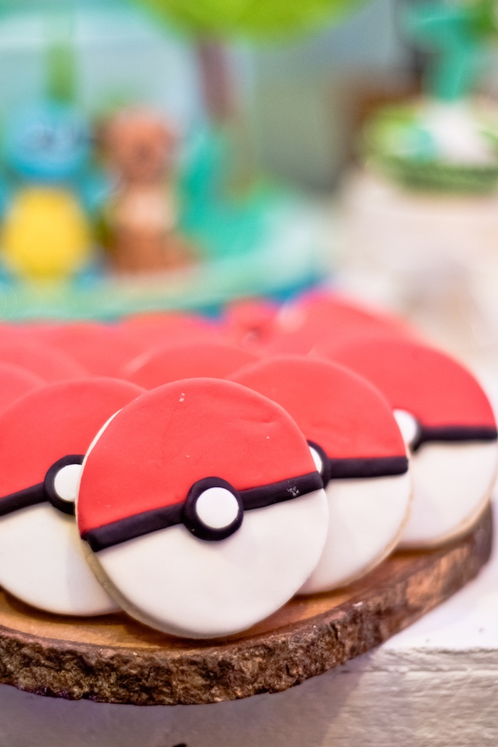 Pokeball Sugar Cookies from a Modern Safari Pokemon Party on Kara's Party Ideas | KarasPartyIdeas.com (14)