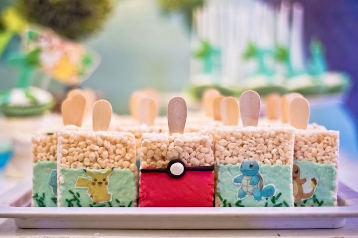 Pokemon Rice Krispie Treats from a Modern Safari Pokemon Party on Kara's Party Ideas | KarasPartyIdeas.com (13)