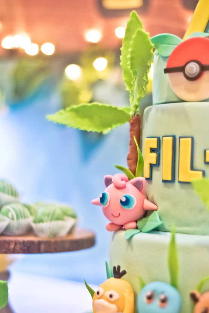 Pokemon Cake from a Modern Safari Pokemon Party on Kara's Party Ideas | KarasPartyIdeas.com (12)