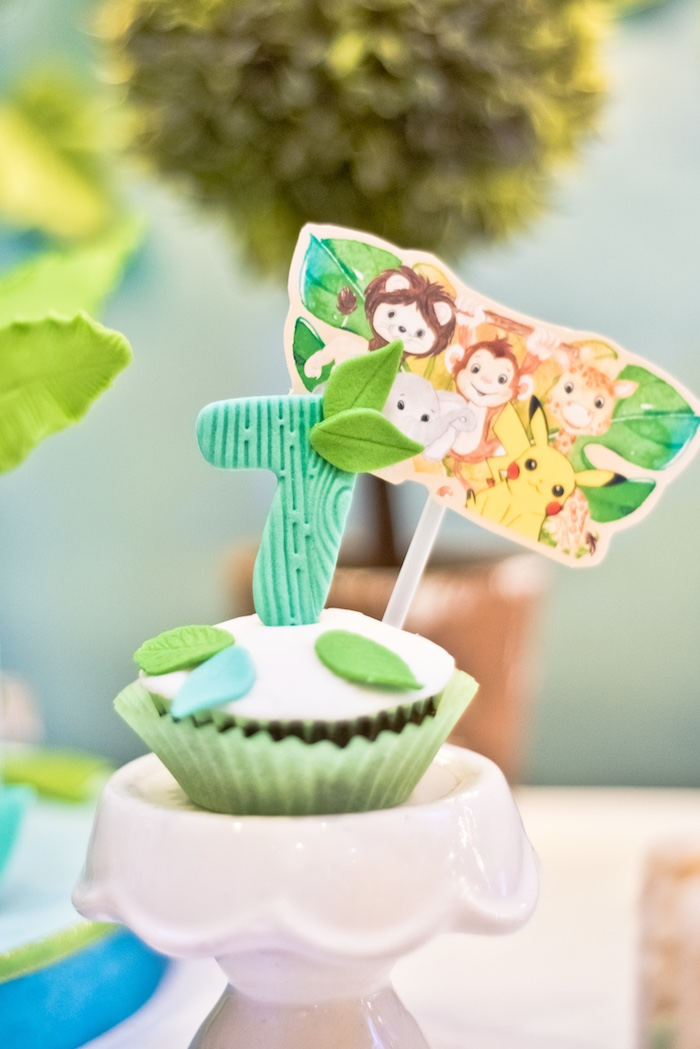 Jungle Cupcake from a Modern Safari Pokemon Party on Kara's Party Ideas | KarasPartyIdeas.com (9)