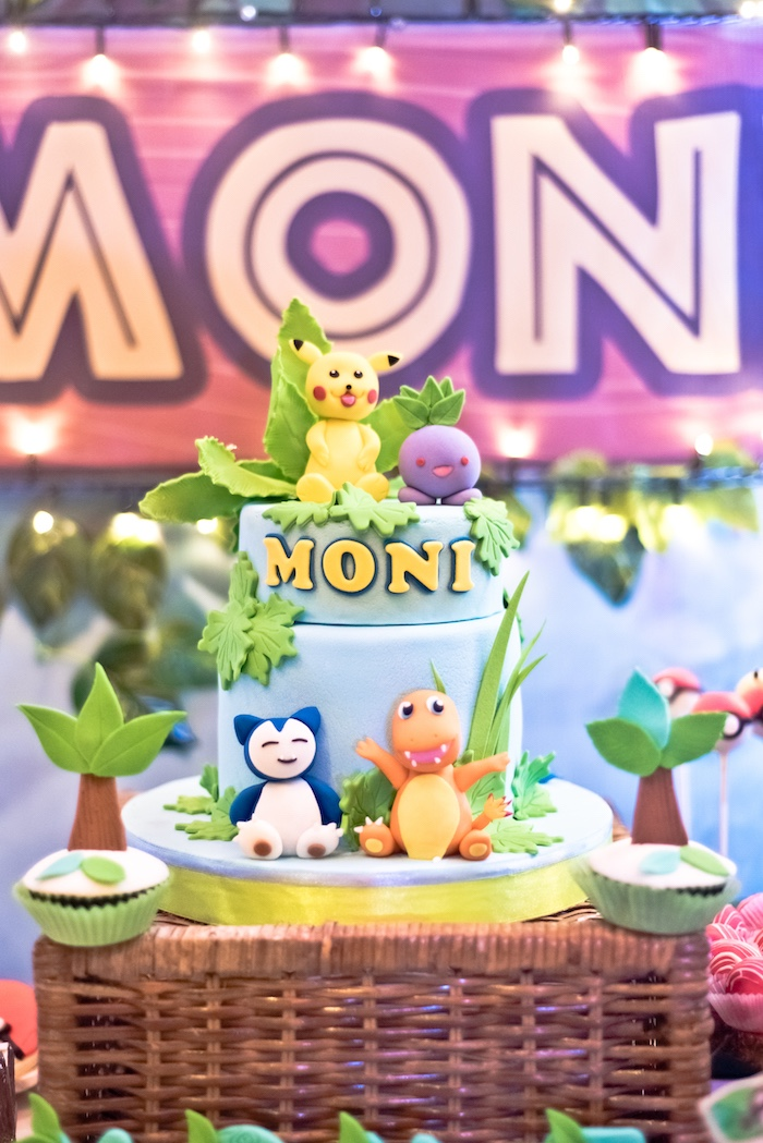 Pokemon Cake from a Modern Safari Pokemon Party on Kara's Party Ideas | KarasPartyIdeas.com (4)