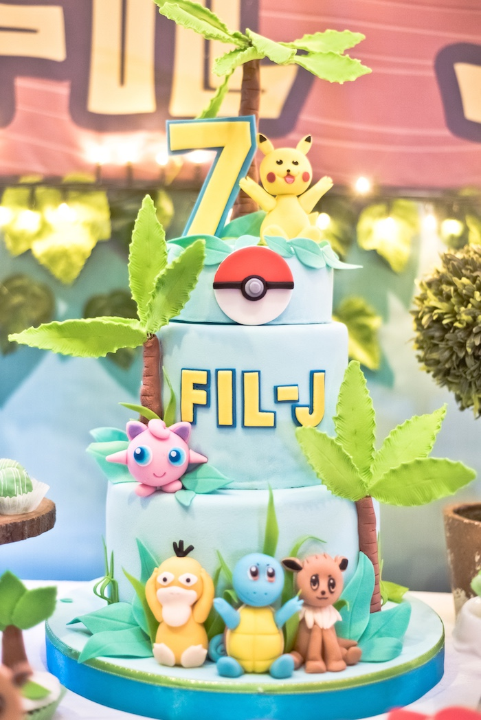Pokemon Cake from a Modern Safari Pokemon Party on Kara's Party Ideas | KarasPartyIdeas.com (3)