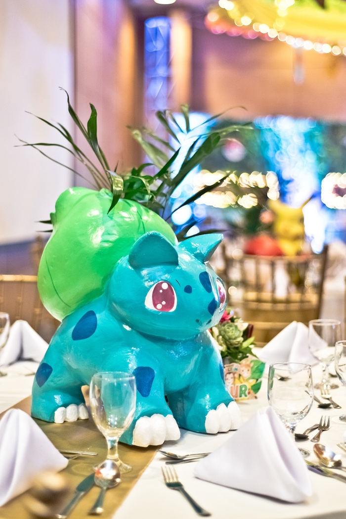 Bulbasaur Pokemon Centerpiece from a Modern Safari Pokemon Party on Kara's Party Ideas | KarasPartyIdeas.com (25)