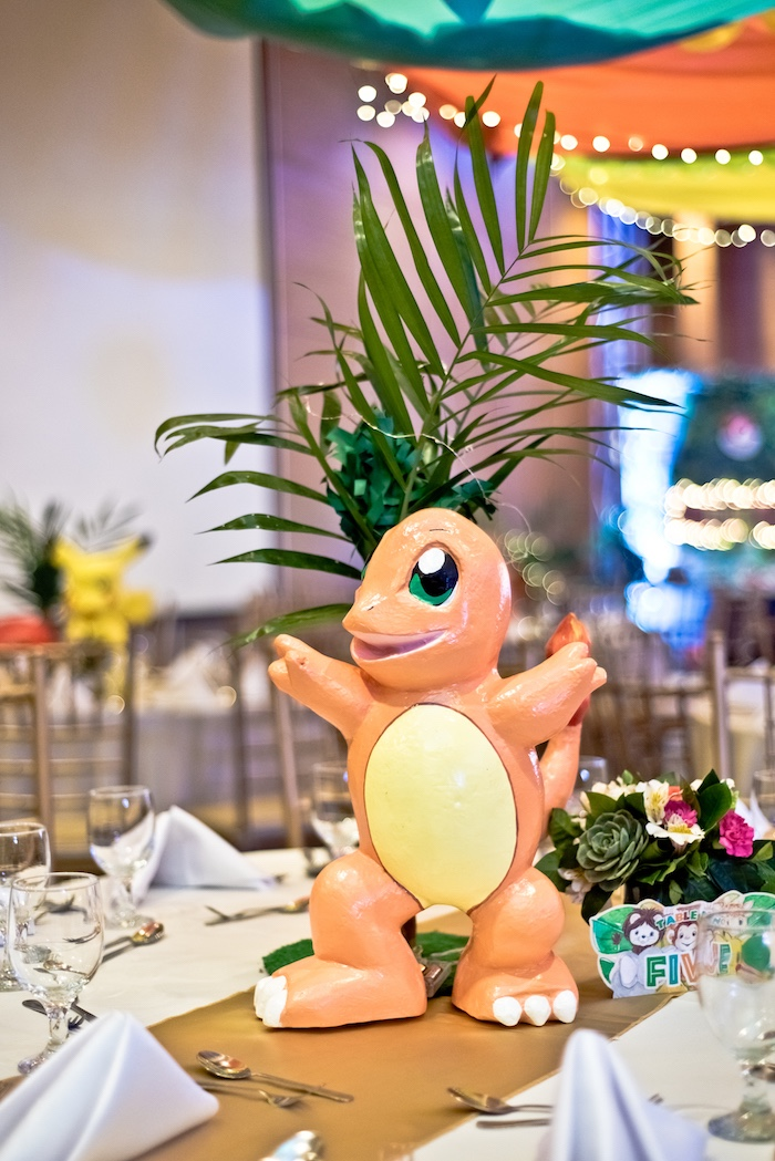Charmander Pokemon Centerpiece from a Modern Safari Pokemon Party on Kara's Party Ideas | KarasPartyIdeas.com (24)