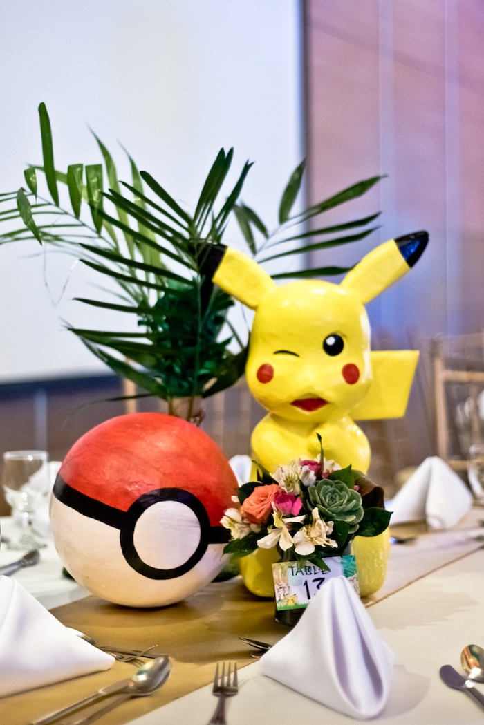 Pikachu Pokemon Centerpiece from a Modern Safari Pokemon Party on Kara's Party Ideas | KarasPartyIdeas.com (23)