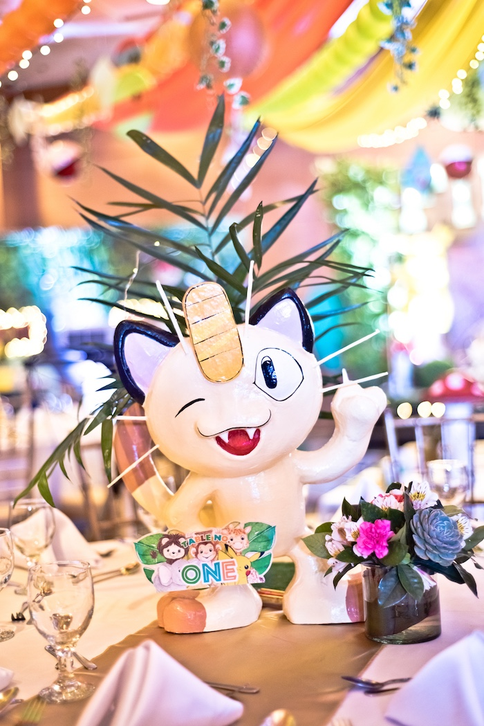 Meowth Pokemon Centerpiece from a Modern Safari Pokemon Party on Kara's Party Ideas | KarasPartyIdeas.com (21)
