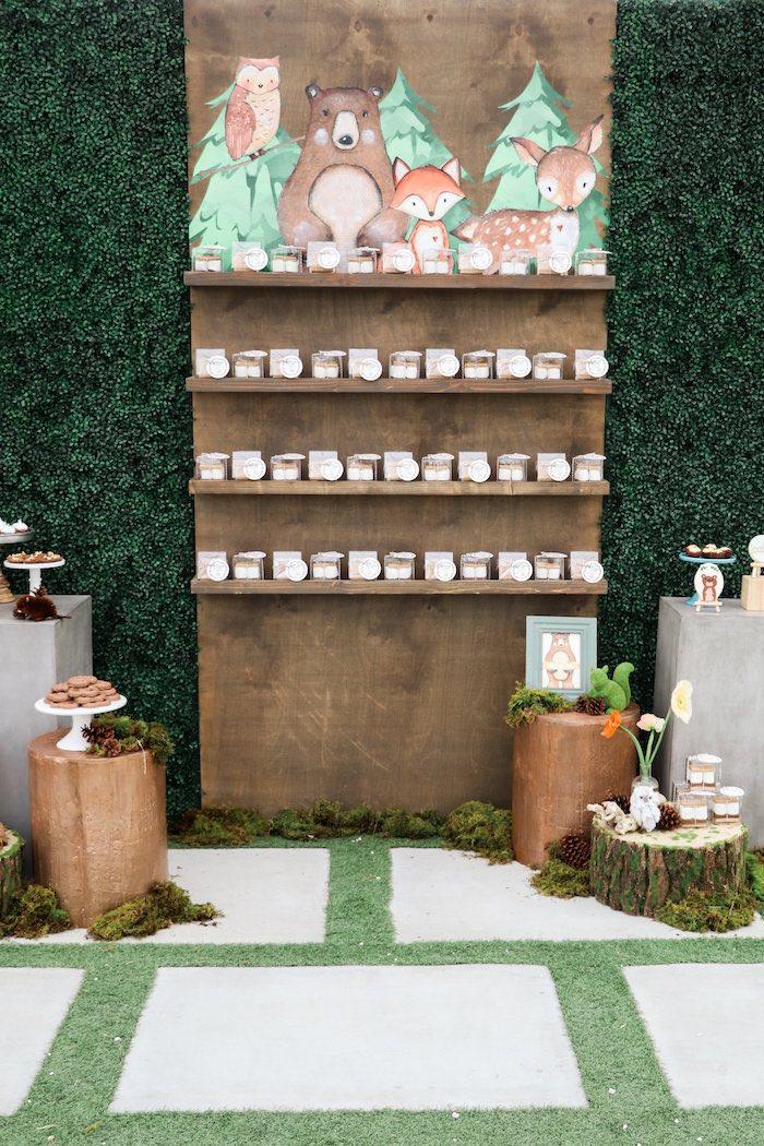 Woodland Favor Shelf from a Modern Woodland Baby Shower on Kara's Party Ideas | KarasPartyIdeas.com (9)
