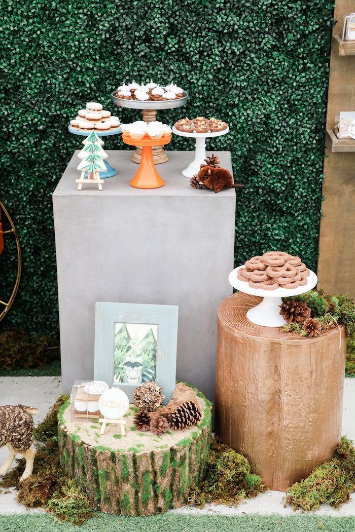 Dessert Pedestal from a Modern Woodland Baby Shower on Kara's Party Ideas | KarasPartyIdeas.com (8)