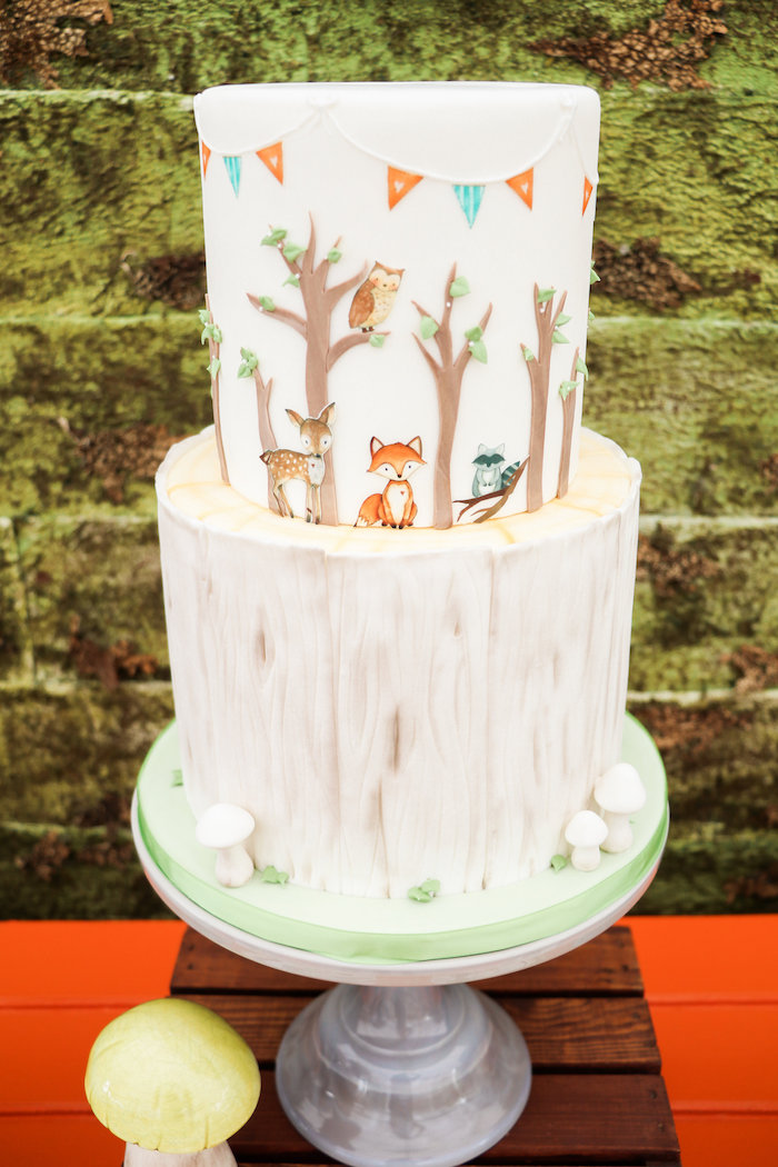 Woodland Animal Cake from a Modern Woodland Baby Shower on Kara's Party Ideas | KarasPartyIdeas.com (7)