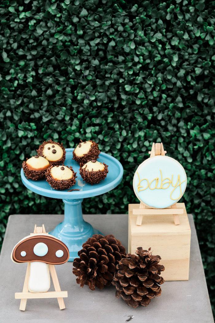 Dessert Pedestal from a Modern Woodland Baby Shower on Kara's Party Ideas | KarasPartyIdeas.com (4)