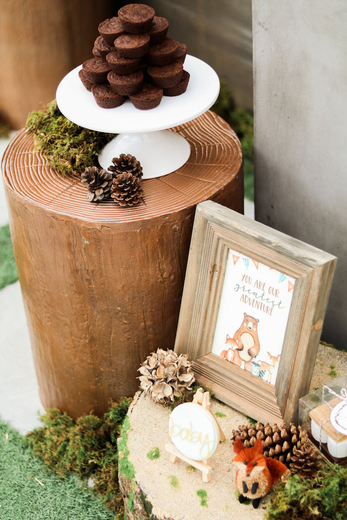 Log Dessert Pedestal from a Modern Woodland Baby Shower on Kara's Party Ideas | KarasPartyIdeas.com (3)