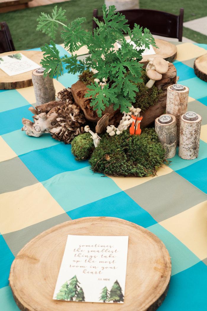 Woodland Centerpiece from a Modern Woodland Baby Shower on Kara's Party Ideas | KarasPartyIdeas.com (24)