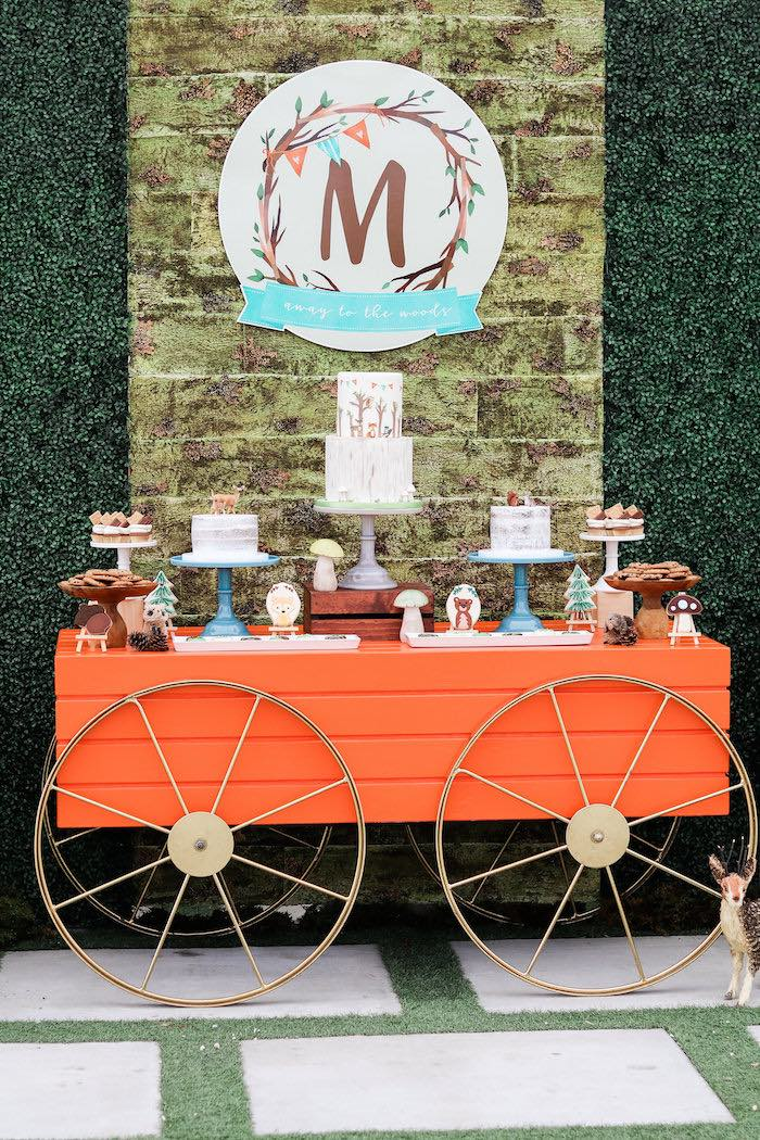 Woodland Wagon Guest Table from a Modern Woodland Baby Shower on Kara's Party Ideas | KarasPartyIdeas.com (17)