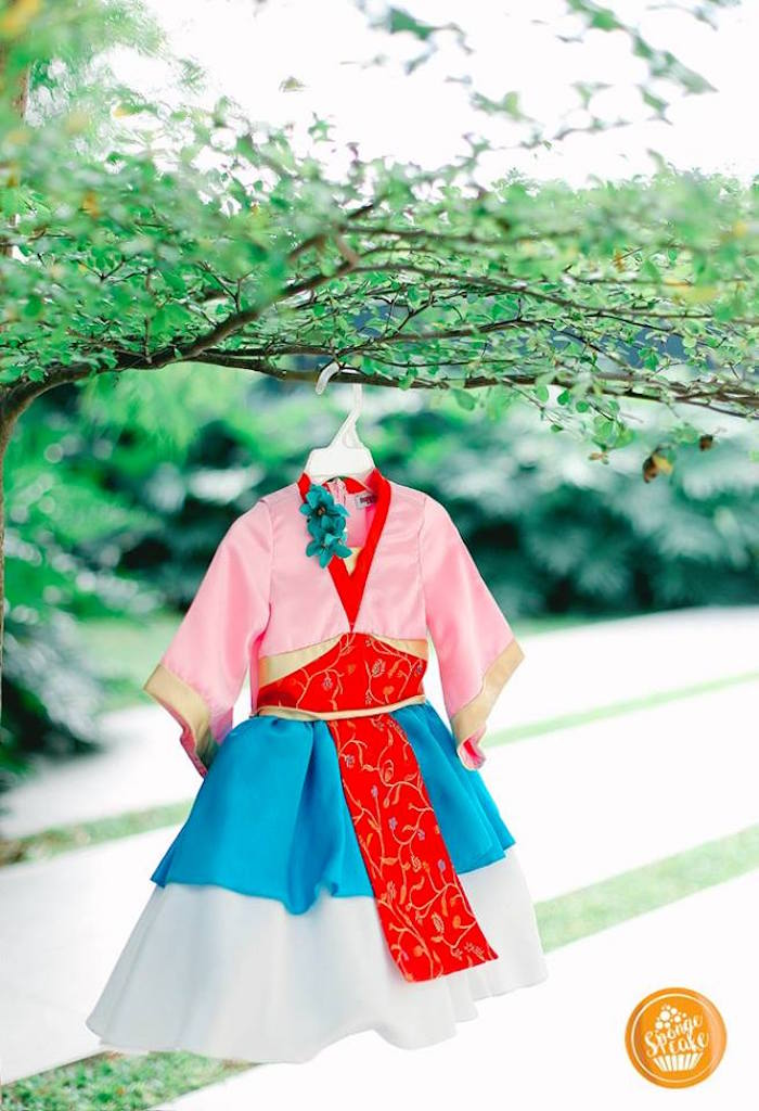 Traditional Chinese Mulan Robe from a Mulan Inspired Birthday Party on Kara's Party Ideas | KarasPartyIdeas.com (7)