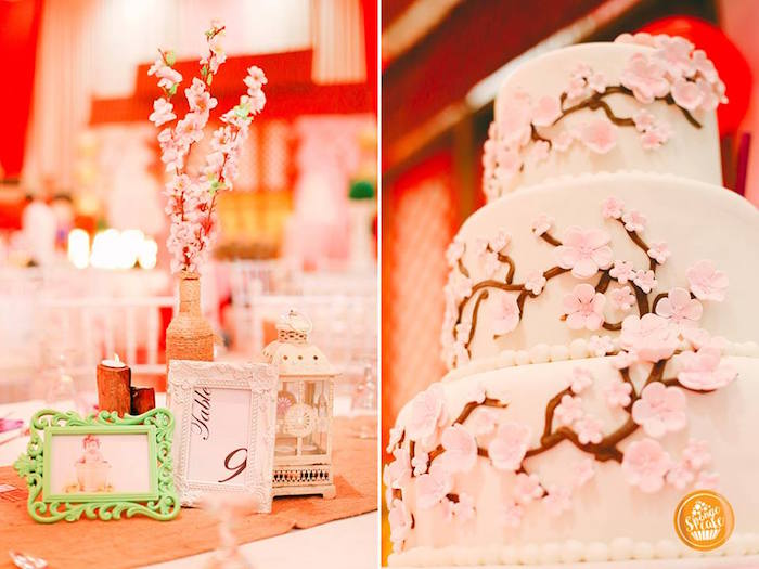 Cherry Blossom Cake + Table Centerpiece from a Mulan Inspired Birthday Party on Kara's Party Ideas | KarasPartyIdeas.com (5)