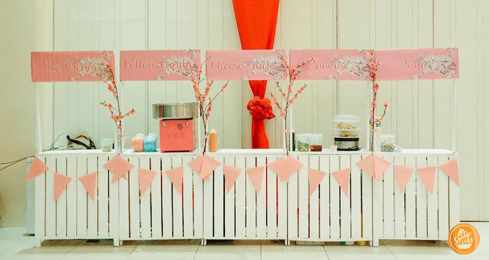 Food Stands from a Mulan Inspired Birthday Party on Kara's Party Ideas | KarasPartyIdeas.com (4)
