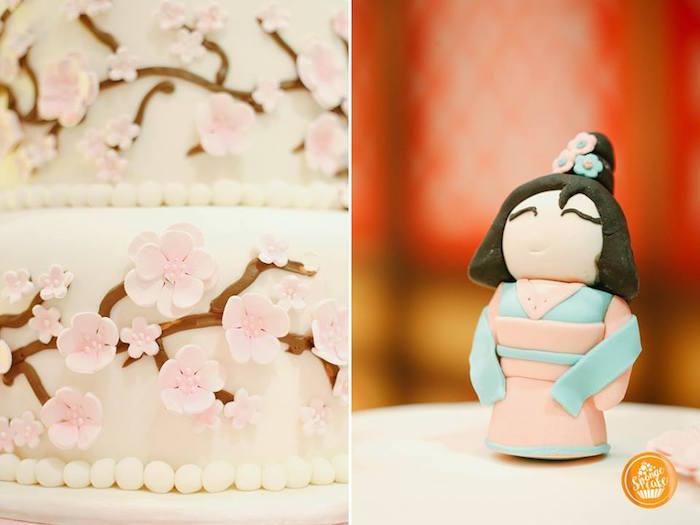Cherry Blossom Cake from a Mulan Inspired Birthday Party on Kara's Party Ideas | KarasPartyIdeas.com (17)