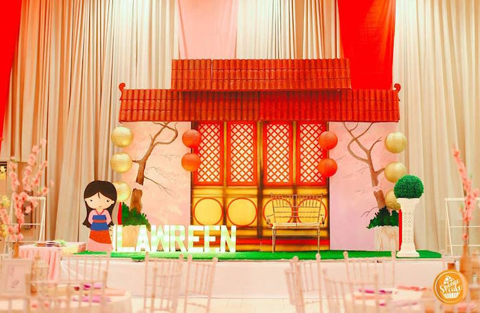 Mulan Home Party Backdrop from a Mulan Inspired Birthday Party on Kara's Party Ideas | KarasPartyIdeas.com (16)