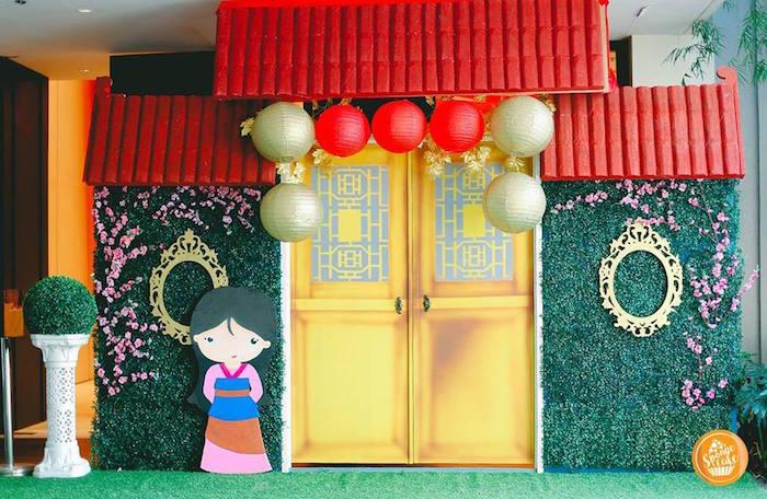 Mulan Party Backdrop from a Mulan Inspired Birthday Party on Kara's Party Ideas | KarasPartyIdeas.com (15)
