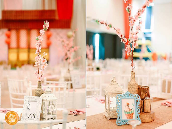 Cherry Blossom Table Centerpieces from a Mulan Inspired Birthday Party on Kara's Party Ideas | KarasPartyIdeas.com (14)