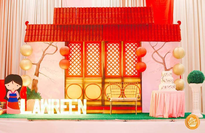 Mulan Home Backdrop + Cake Table from a Mulan Inspired Birthday Party on Kara's Party Ideas | KarasPartyIdeas.com (11)