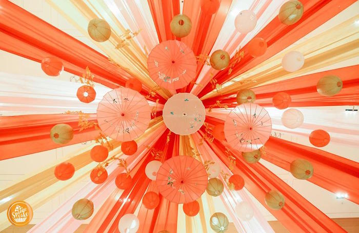 Umbrella Ceilingscape from a Mulan Inspired Birthday Party on Kara's Party Ideas | KarasPartyIdeas.com (9)