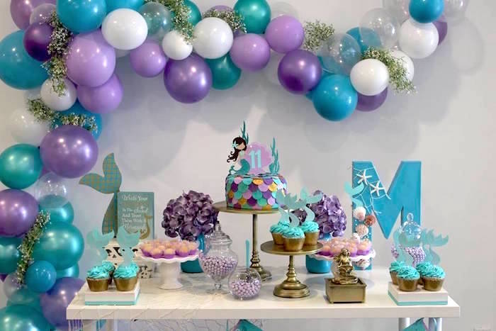 Mermaid Dessert Table from a Mystical Mermaid Party on Kara's Party Ideas | KarasPartyIdeas.com (6)