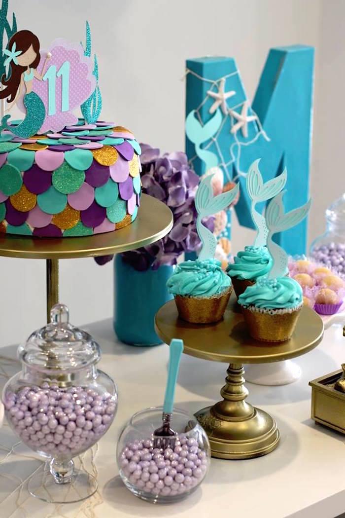 Mermaid Dessert Table from a Mystical Mermaid Party on Kara's Party Ideas | KarasPartyIdeas.com (4)